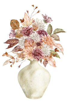 Aquarell herbstblumenstrauß in einer keramikvase mit herbstblättern und blumen auf dem weißen hintergrund. böhmische blumenkarte.
