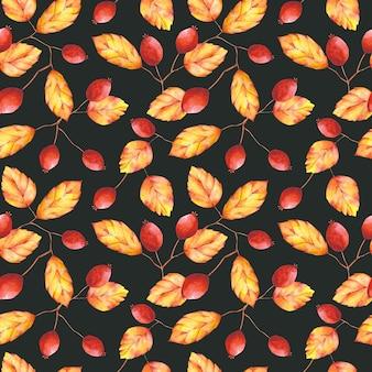 Aquarell herbstlaub und beeren nahtlose muster orange rot botanischer druck auf schwarz