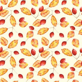 Aquarell herbstlaub und beeren nahtlose muster. orange und roter botanischer druck auf hellgelbem hintergrund. blumenmuster für textilien, stoffe, tapeten, geschenkpapier und dekoration.