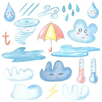 Aquarell herbstwetter. set aus blauen und weißen wolken, regenschirm, regentropfen, wind