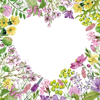 Aquarell herzförmige wildblumen frame4