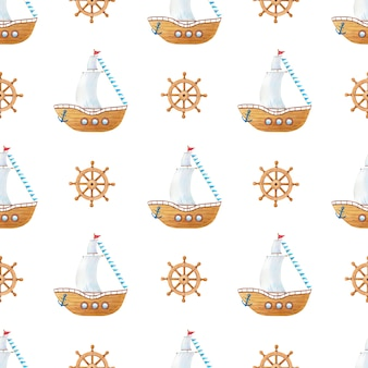 Aquarell holzschiff mit segeln, flaggen, lenkrad, anker