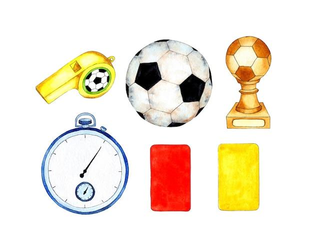 Aquarell-illustration fußball-set ball cup stoppuhr und karten rot und gelb ein satz ausrüstung