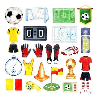 Aquarell-illustrationen der fußball-pokal-stoppuhr rote und gelbe karten-flaggen-pfeife