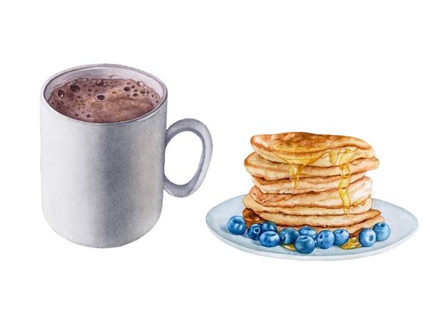 Aquarell kakaogetränk, pfannkuchen mit honig und blaubeeren.