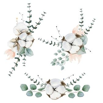 Aquarell-kompositionen aus baumwolle und eykalyptus
