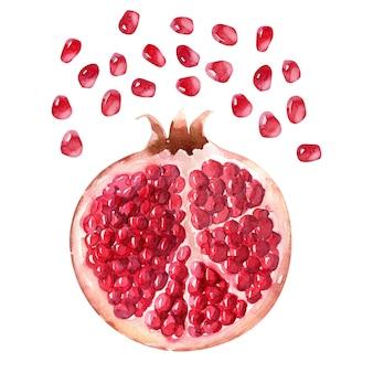 Aquarell-kompositionen mit granatäpfeln, granatapfelkernen und granatapfelsaft