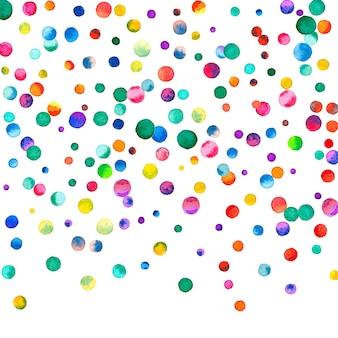 Aquarell konfetti auf weißem hintergrund. bewundernswerte regenbogenfarbene punkte. glückliche feier quadratische bunte helle karte. kraftvolles handbemaltes konfetti.