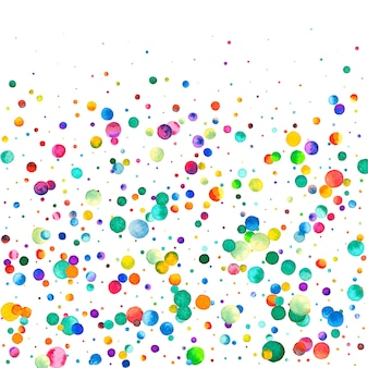 Aquarell konfetti auf weißem hintergrund. bewundernswerte regenbogenfarbene punkte. glückliche feier quadratische bunte helle karte. original handbemaltes konfetti.