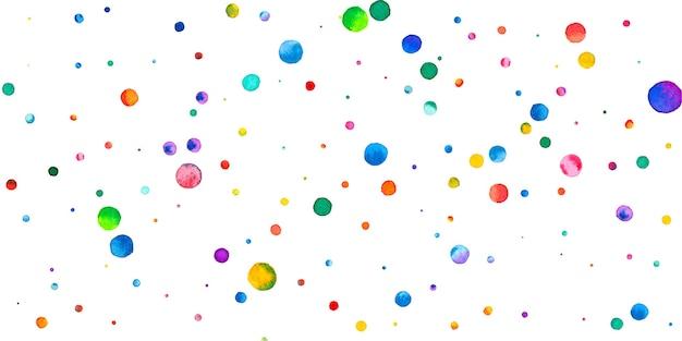 Aquarell konfetti auf weißem hintergrund. entzückende regenbogenfarbene punkte. fröhliche feier breite bunte helle karte. energiegeladenes handbemaltes konfetti.