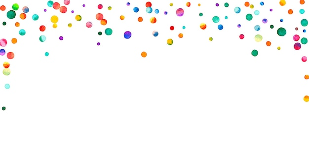 Aquarell konfetti auf weißem hintergrund. entzückende regenbogenfarbene punkte. fröhliche feier breite bunte helle karte. stilvolles handbemaltes konfetti.