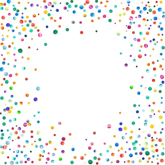 Aquarell konfetti auf weißem hintergrund. entzückende regenbogenfarbene punkte. glückliche feier quadratische bunte helle karte. glamouröses handbemaltes konfetti.
