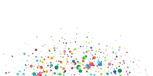 Aquarell konfetti auf weißem hintergrund. lebendige regenbogenfarbene punkte. fröhliche feier breite bunte helle karte. dramatisches handgemaltes konfetti.