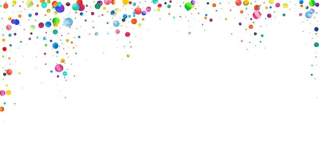 Aquarell konfetti auf weißem hintergrund. lebendige regenbogenfarbene punkte. fröhliche feier breite bunte helle karte. strahlendes handbemaltes konfetti.