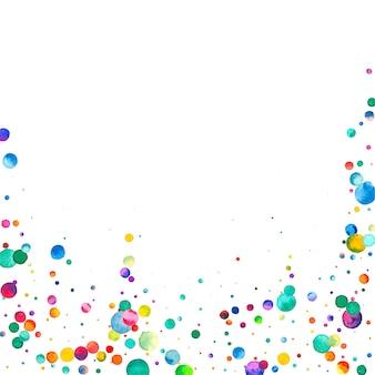 Aquarell konfetti auf weißem hintergrund. tatsächliche regenbogenfarbene punkte. glückliche feier quadratische bunte helle karte. atemberaubende handbemalte konfetti.