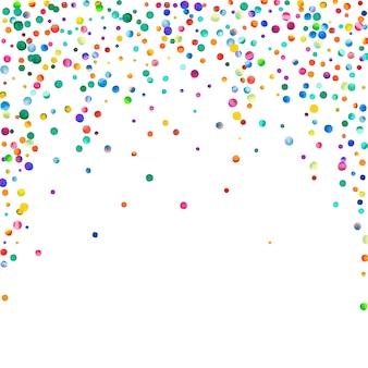 Aquarell konfetti auf weißem hintergrund. tatsächliche regenbogenfarbene punkte. glückliche feier quadratische bunte helle karte. bezauberndes handgemaltes konfetti.