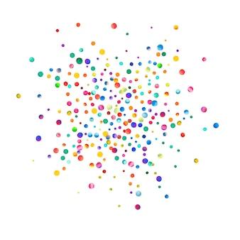 Aquarell konfetti auf weißem hintergrund. tatsächliche regenbogenfarbene punkte. glückliche feier quadratische bunte helle karte. künstlerische handbemalte konfetti.