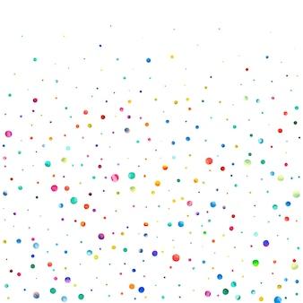 Aquarell konfetti auf weißem hintergrund. tatsächliche regenbogenfarbene punkte. glückliche feier quadratische bunte helle karte. tolles handbemaltes konfetti.