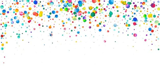 Aquarell konfetti auf weißem hintergrund. verführerische regenbogenfarbene punkte. fröhliche feier breite bunte helle karte. exquisite handbemalte konfetti.