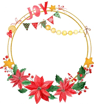 Aquarell-kranz der frohen weihnachten mit freudenaufschrift