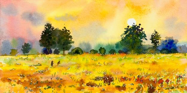 Aquarell-landschaftsmalerei-panorama bunt von naturschönheit-reisfeldbäumen und bauernhofwald mit dämmerung, himmelwolkenhintergrund in der naturherbstsaison. gemalter impressionist, illustrationsbild