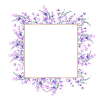 Aquarell lavendel blumen in einem quadratischen goldrahmen.