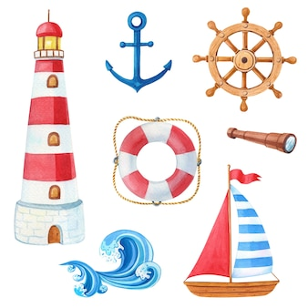 Aquarell marine-set aus holzschiff, anker, leuchtturm, rettungsring, lenkrad