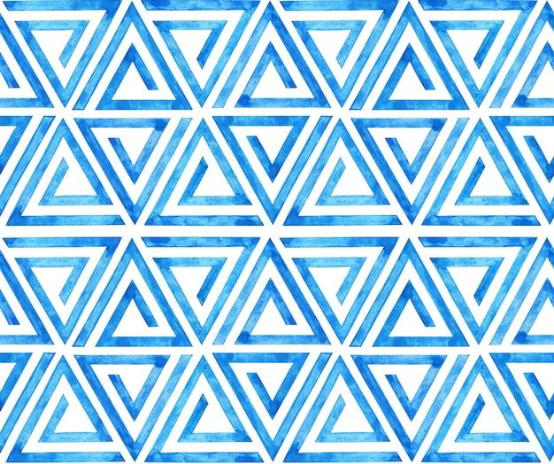 Aquarell modernes geometrisches muster mit blauen dreiecken nahtloses muster abstrakter hintergrund