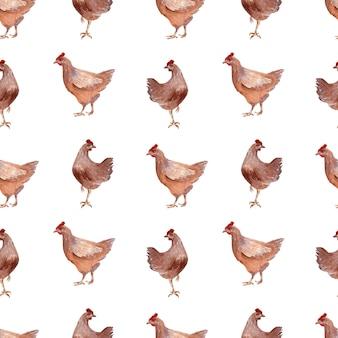 Aquarell musterdesign mit geflügel, hühnern, hähnen und eiern