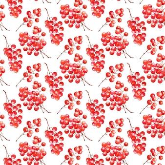 Aquarell musterdesign mit roten beeren. weihnachten hintergrund