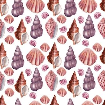 Aquarell musterdesign muscheln. rosa muscheln