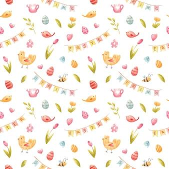 Aquarell nahtlose frühlingsmuster illustration für ostern mit bienentulpe bunte eier gießkanne vogel party fahnen herzen für party einladung kinder dekor textildesign