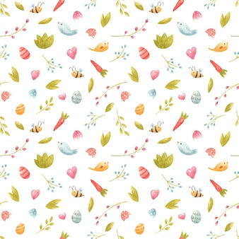 Aquarell nahtlose frühlingsmuster mit bienenblume und zweigen karottenvögel blätter ostereier für party einladung kinder dekor textildesign digitales scrapbooking