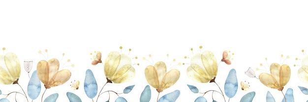 Aquarell nahtlose grenze mit goldenen blütenknospen, großen abstrakten blüten und blättern auf weiß
