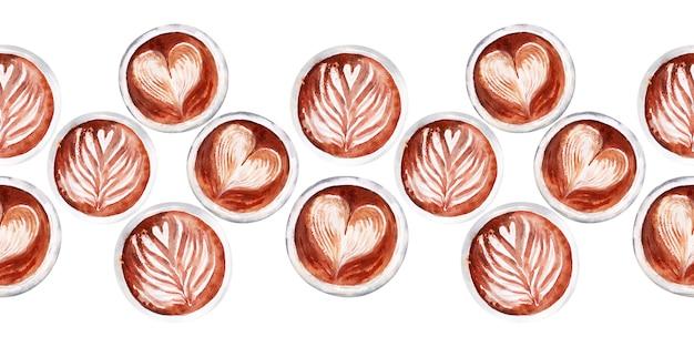 Aquarell nahtlose grenze mit kaffeeattributen und kaffee