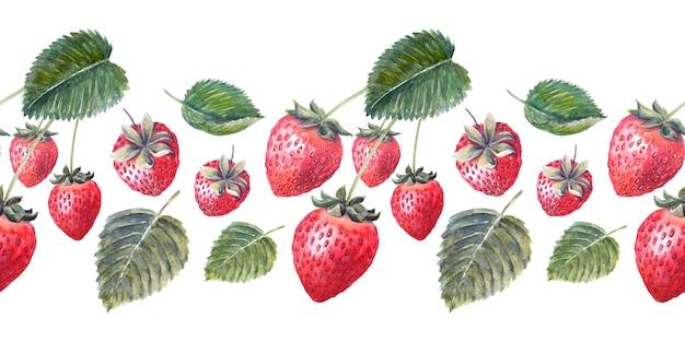 Aquarell nahtlose grenze mit reifen beeren und einem zweig erdbeeren