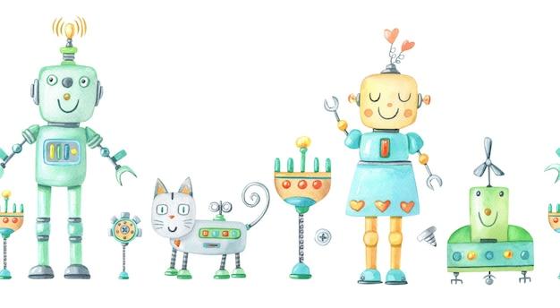 Aquarell nahtlose grenze mit roboter mädchen, junge, katze, blume