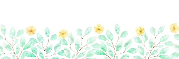 Aquarell nahtlose grenze mit weichen gelben blüten und zweigen von grünen blättern, frühlingsblumen auf weiß