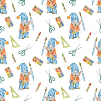 Aquarell nahtlose muster gnome zurück zur schule waldschule