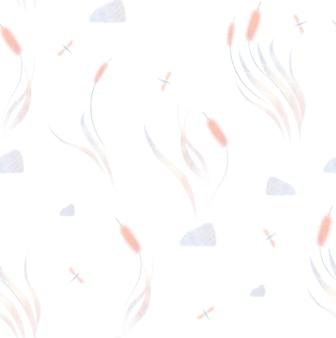 Aquarell nahtlose muster mit sumpfgras sumpf schilf schmetterling isoliert auf weißem hintergrund
