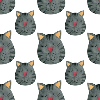 Aquarell nahtlose muster von gesichtern von katzen in einer krone katzen aquarell hintergrund