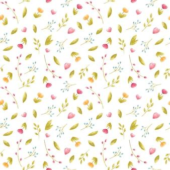 Aquarell nahtloses florales frühlingsmuster für kindertextilien mit feinen rosa blüten und blättern für partyeinladung kinderdekor textildesign kartenherstellung briefpapier partyetiketten verpackung