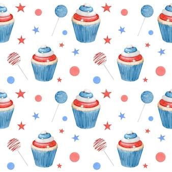 Aquarell nahtloses muster 4. juli mit cupcakes