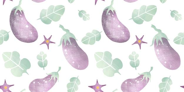 Aquarell nahtloses muster mit reifen auberginenblumenblättern der karikatur lokalisiert auf weißem hintergrund