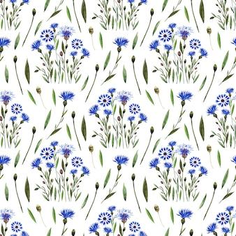 Aquarell nahtloses muster mit zweigen, blättern, knospen und blüten der kornblumenpflanze