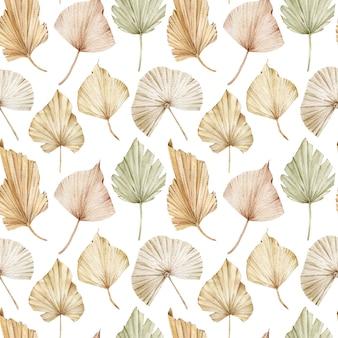 Aquarell nahtloses muster von beige und cremigen palmblättern. exotischer errötender hintergrund. tropisches muster.