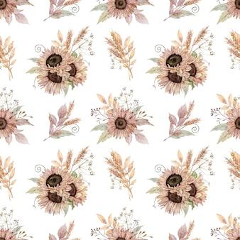 Aquarell nahtloses muster von pastellfarbenen sonnenblumen, weizen, herbstblättern.