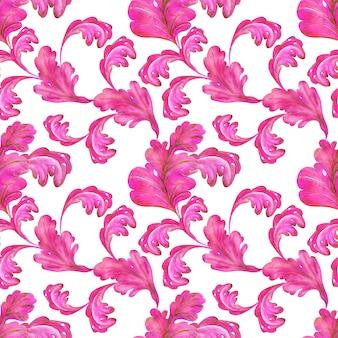 Aquarell nahtloses muster von rosa und goldenen blättern mit wirbeln einer fantasiepflanze