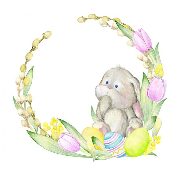Aquarell niedliches kaninchen mit blumenkranz