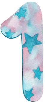 Aquarell nummer eins mit rosa und blauen farben und sternen.
